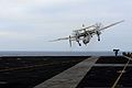 A U.S. Navy E-2C Hawkeye aircraft assigned to Airborne Early Warning Squadron (VAW) 112 launches from the aircraft carrier USS John C. Stennis (CVN 74) in the Pacific Ocean April 28, 2013 130428-N-TC437-163.jpg