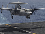 A U.S. Navy E-2C Hawkeye aircraft assigned to Airborne Early Warning Squadron (VAW) 117 lands aboard the aircraft carrier USS Nimitz (CVN 68) June 20, 2013, in the Gulf of Oman 130620-N-AZ866-304.jpg