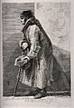 A blind beggar hunched over his walking stick, holding out h Wellcome V0015889.jpg