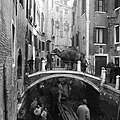 A canal in Venice being drained and cleaned using a Decauville railway and two camels, 1956.jpg