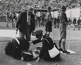 1948 Summer Olympics - A Boy Scout who fainted in the intense heat was the first 'casualty' of the 1948 Olympic Games. The temperature was in the nineties (32°C) as the sun blazed down mercilessly.