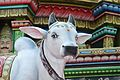 A cow sculpture at the Sri Mariamman Temple (6810539966).jpg