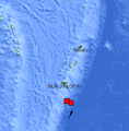 A map showing the earthquakes that hit the Tonga region at approximately 1600 UTC on March 14, 2008.png