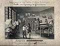 A printer's premises, with men engraving, inking plates, and Wellcome V0023785.jpg