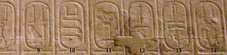 Abydos King List - Cartouches 9 to 14 (Click to enlarge)