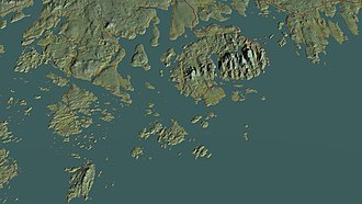 Acadia National Park - Aerial view, 3D computer-generated image
