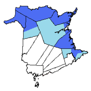 Parti acadien - Approximate map of an Acadian province. In light blue, the areas of New Brunswick with a significant proportion of Francophones. In dark blue, the areas with a Francophone majority.