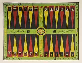 Acey-deucey - Acey-Duecey of the first quarter of the twentieth century. This colorful Acey-Duecey board was printed on canvas and incorporates a seahorse, mermaid, compass rose, U.S. Navy Officer Rank Insignias and U.S. Navy Enlisted Rating Badges.