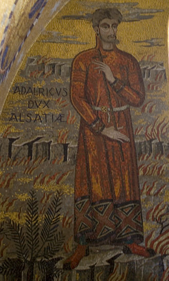 Adalrich, Duke of Alsace - A mosaic of Adalrich, from his tomb in Mont Sainte-Odile.