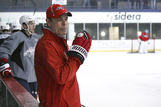 Adam Oates - Oates coaching during a Washington Capitals practice.