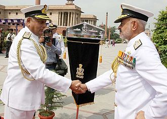 Devendra Kumar Joshi - Admiral D. K. Joshi CNS Designate being welcomed by Outgoing CNS Admiral Nirmal Kumar Verma for a ceremonial Parade at South Block, New Delhi