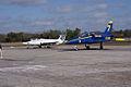 Aero Vodochody L-39C Albatros Blue7 Taxi In 10 past Aero Vodochody L-29 Delfin TICO 13March2010 (14412813839).jpg