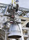 Aerojet AJ26 in the Stennis E-1 Test Stand - cropped.jpg