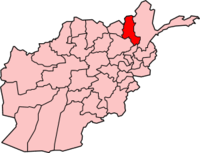 Map of Afghanistan with Takhar تخار highlighted.