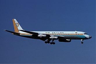 Air Ceylon - An Air Ceylon Douglas DC-8 approaches Zurich Airport in 1977.
