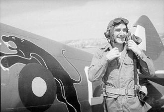 No. 152 Squadron RAF - 152 Squadron pilot and Spitfire in Burma during WWII, showing the distinctive leaping black panther emblem