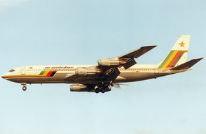 Air Zimbabwe - An Air Zimbabwe Boeing 707-320B on final approach to London Gatwick Airport in 1989.