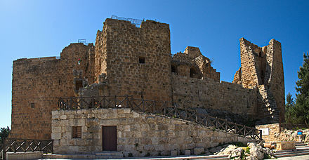 The Ajloun Castle (c. 12th century AD) built by the Ayyubid leader Saladin for use against the Crusades. Ajloun Castle 1.jpg
