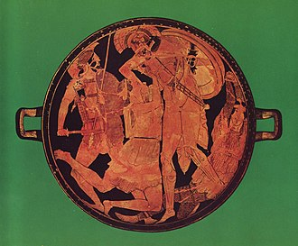 Penthesilea - Achilles kills Penthesilea in the tondo of an Attic red-figure kylix, 470–460 BCE, found at Vulci