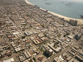 Alamitos Beach, Long Beach, California - The Alamitos Beach neighborhood of Long Beach, California, looking southeast. Alamitos Avenue runs left to right across the center of the photo; Alamitos Beach is located above it, with the East Village below. 4th Street cuts from the top left corner to the bottom center; Alamitos Beach is to the right of it.