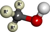 Modelo de barras y esferas de la estructura de un alcohol. Cada R simbolizan un carbono sustituyente o un hidrógeno.