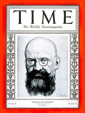 Alfred Hertz - Alfred Hertz on the cover of Time, 1927