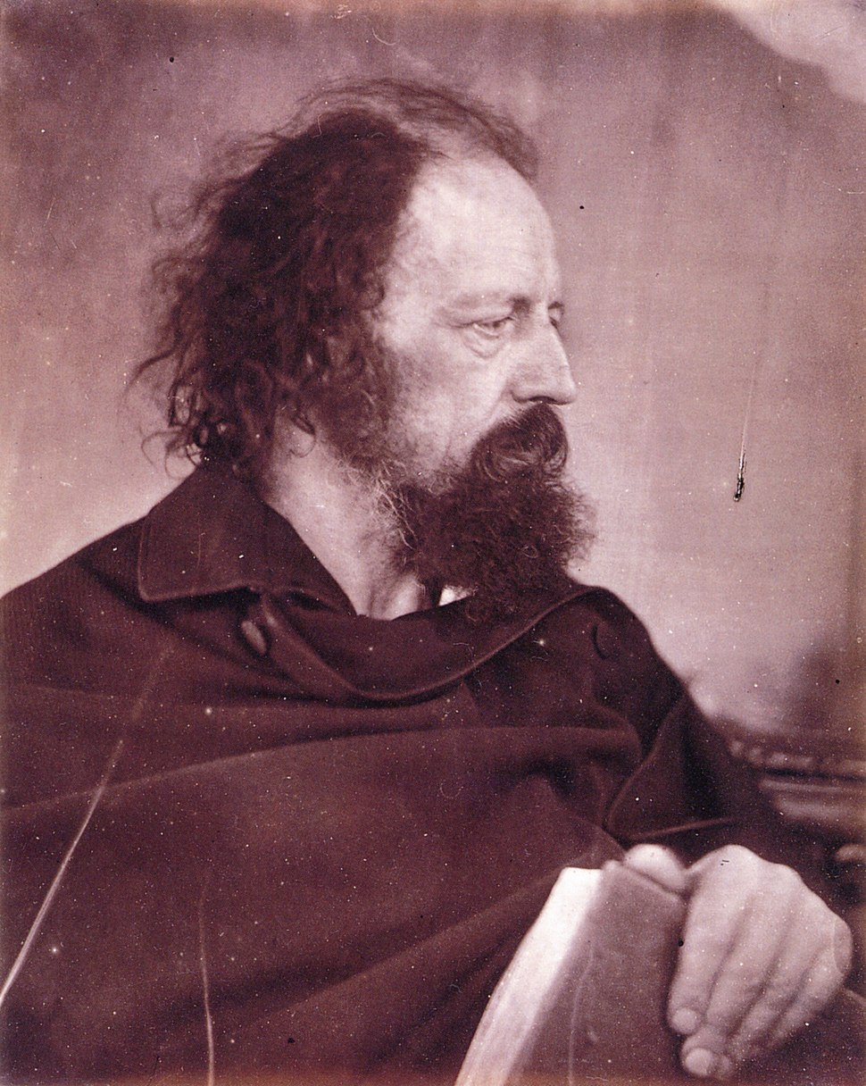 Alfred Tennyson with book, by Julia Margaret Cameron