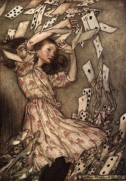 File:Alice in Wonderland by Arthur Rackham - 15 - At this the whole pack rose up into the air and came flying down upon her.jpg