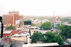 Civil Lines, Allahabad - Civil Lines skyline with Indira Bhavan in background