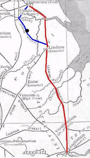 Doncaster - Ermine Street's alternative route: Eboracum (York) to Lagecium (Castleford), 21 miles, to Danum (Doncaster), 16 miles, to Agelocum (Littleborough), 21 miles, to Lindum (Lincoln), 13 miles. A separate spur connected Danum with Calcaria (near Tadcaster).