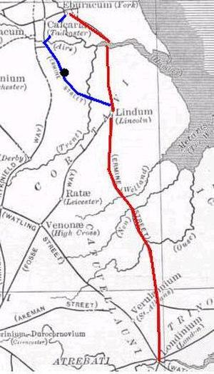 Doncaster - Ermine Street's alternative route: Eboracum (York) to Lagecium (Castleford), 21 miles, to Danum (Doncaster), 16 miles, to Agelocum (Littleborough), 21 miles, to Lindum (Lincoln), 13 miles. A separate spur connected Danum with Calcaria (near Tadcaster).