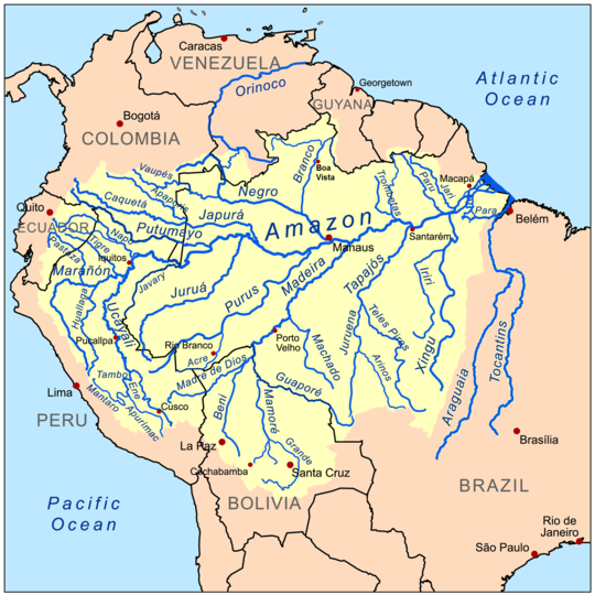 The basin of the Amazon River is a system made up of many tributary streams. The streams shown on the map besides the Amazon are tributaries of the Amazon. The Amazon is not a tributary of any other rivers because it ends in the Atlantic Ocean.