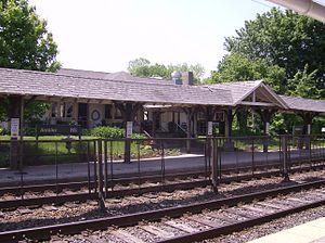 Ambler, Pennsylvania - Ambler train station with restaurant Trax behind it