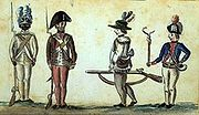 This 1780 drawing of American soldiers from the Yorktown campaign shows a black infantryman from the 1st Rhode Island Regiment.