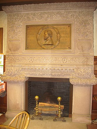 Ames Free Library - Image: Ames Free Library (North Easton, MA) interior fireplace