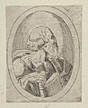 An apostle seen in profile facing right, holding an open book, in an oval frame, from Christ, the Virgin, and Thirteen Apostles MET DP837893.jpg
