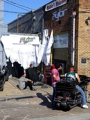 Deep Ellum, Dallas - An outdoor barber shop, Fybr, in Deep Ellum
