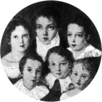 Miniature group portrait depicting six children in formal dress