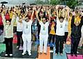 Anant Geete and the Minister of State (Independent Charge) for Power, Coal and New and Renewable Energy, Shri Piyush Goyal participates in the mass yoga demonstration, on the occasion of International Yoga Day, in Mumbai (2).jpg