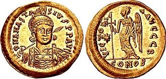 Anastasius I Dicorus - A gold solidus of Anastasius I