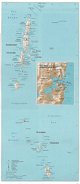 Map of Andaman and Nicobar Islands with an extra detailed area around Port Blair