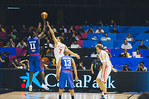 Basketball in the Philippines - The men's national team (blue) playing against Croatia (white)