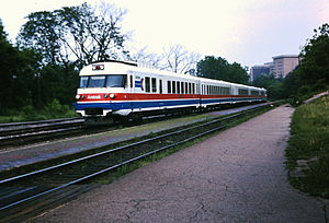 Amtrak RTG Turboliner at Ann Arbor, Michigan in 1975