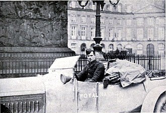 Anthony Wilding - Wilding in his armoured car in Paris in January 1915