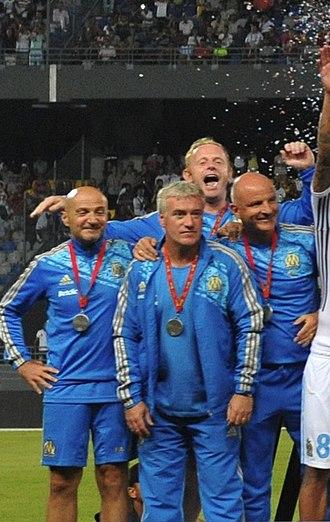 Didier Deschamps - Deschamps (front, centre), Antonio Pintus, Nicolas Dehon and Guy Stéphan celebrating their Trophée des Champions win over Lille in 2011.