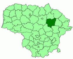 Location of Anykščiai district municipality within Lithuania