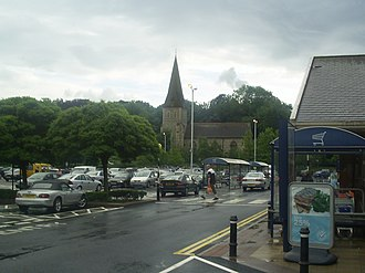 Apsley, Hertfordshire - St. Mary's Church (1871) stands above the modern Sainsbury's supermarket in Apsley. It was built to serve and inspire the workers of the paper mill that once occupied the supermarket site.