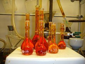 Aqua regia - Freshly prepared aqua regia to remove metal salt deposits