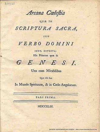 Emanuel Swedenborg - Arcana Cœlestia, first edition (1749), title page.