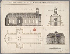 Adrien de Pauger - Saint Louis Parish Church New Orleans plans 1724
